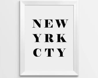 New York Print, New York City Print, Wall Decor, Fashion Print, Minimalist Print, Black And White Print, Printable Art, Home Decor