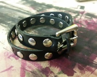 Genuine leather rivet wrap band