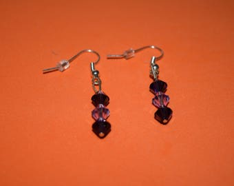 Light and Dark purple Swarovski Crystal earrings