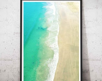 Anchor Bay Tawharanui Aerial Photography, New Zealand Beach Photography, Large Wall Art