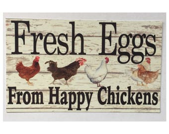 Fresh Eggs From Happy Chickens Sign - Hen House Coop Rooster Farm Rustic Wall Room Entrance Door Chicken