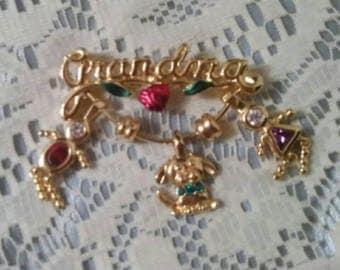 Grandma brooch gold tone grandma brooch grandma puppy brooch grandma child brooch gold tone brooch gold tone gem brooch gem brooch