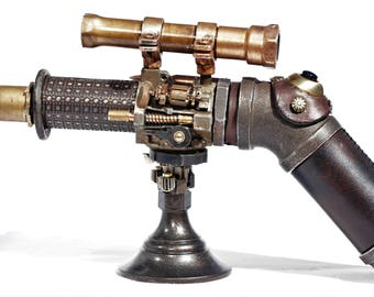 Time Pirate Steampunk Gun - Cosplay / LARP Prop Gun with Light and Stand