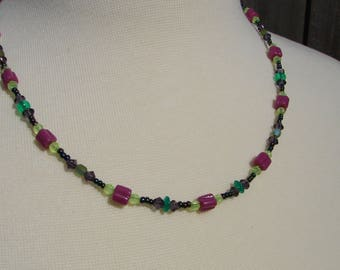 Floral Purple and Green Beaded Necklace