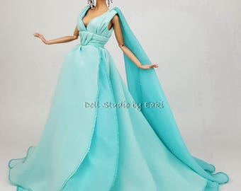 Blue Chiffon Ball Gown Evening Doll Designer Dress Outfit Barbie Silkstone Fashion Royalty FR Handmade Model muse