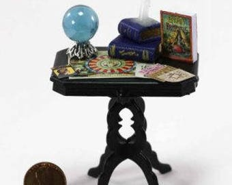 Dollhouse Miniature Fortune Tellers Table with Accessories