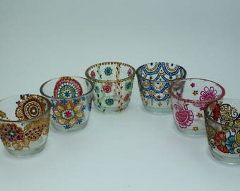 Henna Tealight Holder Hand painted Glass tealight holder hand crafted glassware, glass candle holder, tea light holder, votive holder