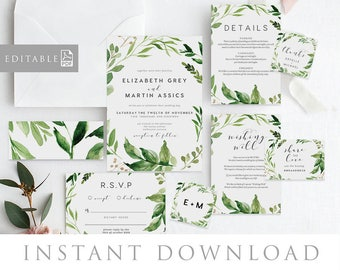 Leaves Wedding Invitation INSTANT DOWNLOAD, Editable PDF Rush Order, Green Wedding Invite, Rustic Invite - Woodland