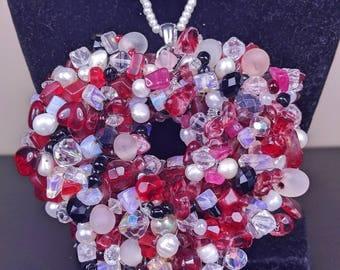 Hand made Aquamarine, Red Sardonyx crystal & Pearl necklace