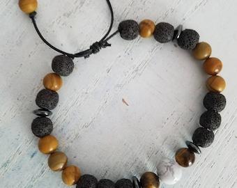 Men's Protection and Diffuser Lava Stone Bracelet