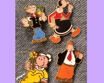 Popeye Brooch Pin ~ Lot of 4 ~ Olive Oyl ~ Swee'Pea ~ Wimpy~80's vintage ~ King Features