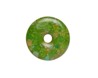 Focal gemstone component mosaic turquoise dyed, green flat round donut 23mm, focal mosaic green donut 23mm.