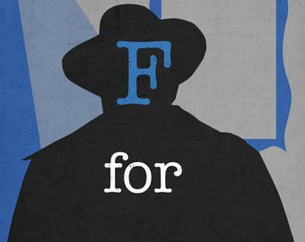 F for Fake Minimalist Movie Poster 11 x 17 high quality heavy cardstock