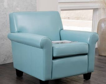 Blue Leather Club Chair