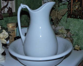 Beautiful Antique J. G. Meakin Ironstone China Porcelain Wash Basin Bowl & Pitcher Made In England