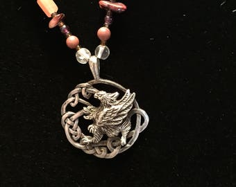 Celtic Griffin Sterling Silver and Multi-Gemstone Necklace
