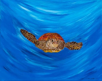 Turtle is a high quality print of my acrylic canvas painting