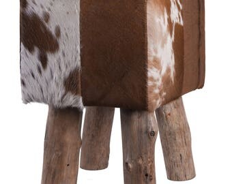 Coat stools made from cow skin / Bullhide square with wooden feet, brown-white