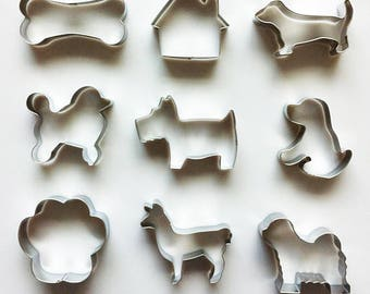 9pcs/Set Dog Cookie Cutters, Dog House Cutter, Bone Cutter, Fondant Biscuit Mold - Pastry Baking Tool
