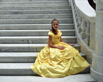 Princess Belle Costume Dress, Beauty and the Beast, Girls