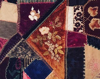 Antique CRAZY Quilt ca. 1880's / SILKS, VELVETS & Assorted fabrics wall hanging