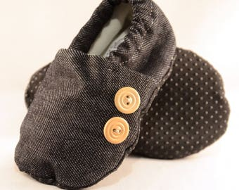 "5.5"" Soft-Soled Baby Shoes - Denim with Buttons - Adjustable Ankles - Non-Slip Soles"