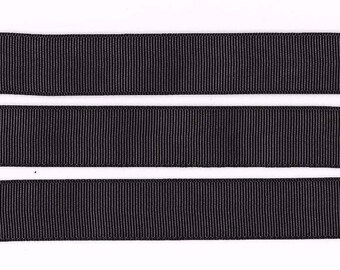 "LICORICE BLACK 22MM 7/8"" Grosgrain Ribbon Craft Bow Decoration Metre Yard Cake Celebration Colour RB36"