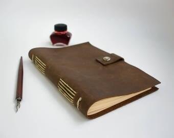 Brown leather journal - sketchbook - travel diary - handmade blank book