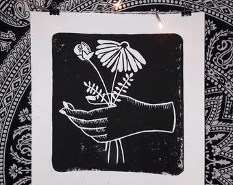 Linocut print flowers