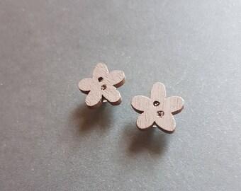 Wooden button Stud Earrings