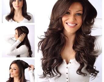 """Human Hair Extensions Remi 100% European Real Human Hair High Quality  18"""" 180 Gram Dark Brown Flip In Halo Hair Extension"""