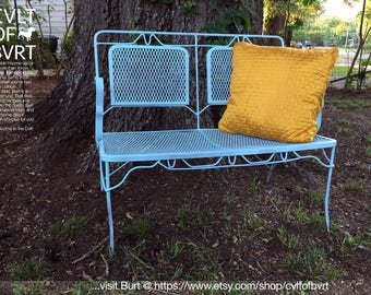 Wrought Iron Mesh Patio Love Seat / Bench with a Shabby Chic, Rustic Cottage Finish - Vintage Outdoor Furniture 1940's 1950's Mid-Century