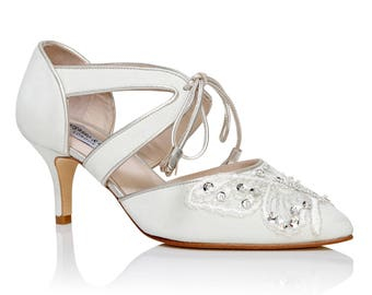 Wide Fit Ivory Suede Lace Up Kitten Heel