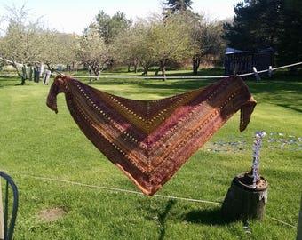Handmade wool/acrylic shawl, wrap shawl
