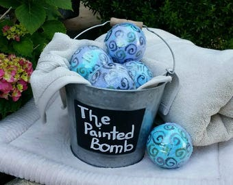 Bath Bomb One Large 7 oz, Unicorn Nightmare Bath Bomb, Bath Bomb Activated Charcoal, Hand Painted Bath Bomb, Bath Fizzy