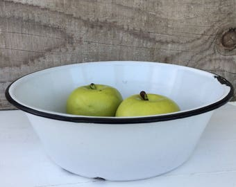 Vintage enamelware bowl, enamelware, black and white bowl, vintage decor, farmhouse