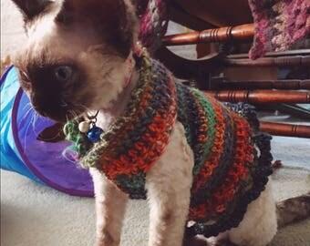 Crochet cat jumper or small dog jumper