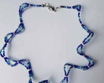 Elegant blue beaded necklace