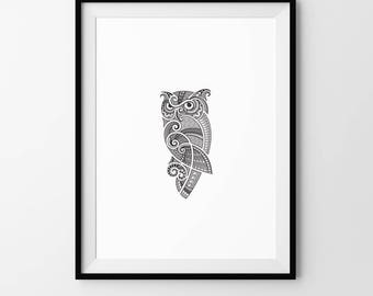 Owl, Minimalist, Digital Download, Art, Print, Poster, Black and White, Tribal