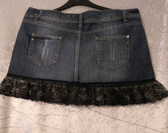 upcycled denim skirt with black lace size 16