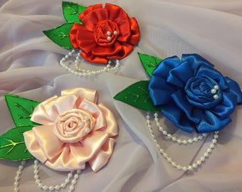 Pearl Ribbon Rose Pin Clip