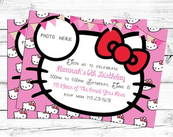Hello Kitty Invitation. Hello Kitty Birthday Invitation. Hello Kitty Birthday Card.