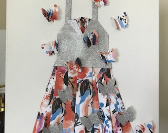 Hand-made Glitter Paper Shirt w/ Pleated Floral Paper Skirt
