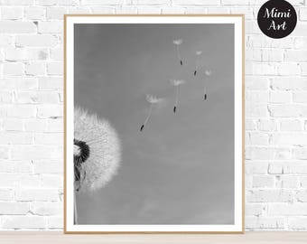 Dandelion Print, Dandelion Printable Art, Wall Art Decor, Black & White Art, Digital Download, Instant Download, Printable Download