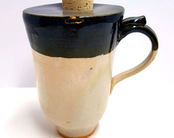 "Father's day, The ""Traveler"" hand thrown pottery travel coffee mug"