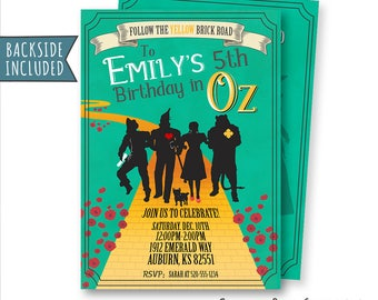 Wizard of Oz Birthday Invitation, Wizard of Oz Invitation, Wizard of Oz Party, Wicked Invitation, Wizard of Oz Movie, Digital, Printables
