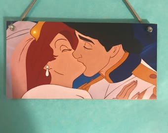 Disney The Little Mermaid inspired Ariel and Eric wedding kiss, hanging plaque