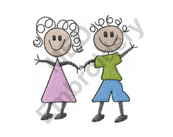 Stick Boy And Girl - Machine Embroidery Design