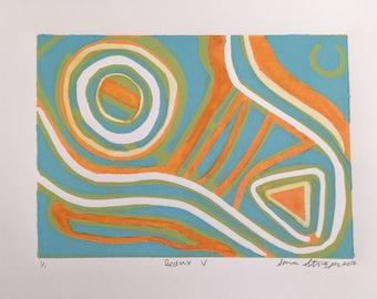 Redux V, Linocut Print