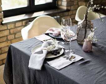 Linen Tablecloth, softened linen, stonewashed linen, natural linen, different sizes, dark grey